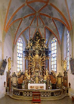 Kájov, Church of Pilgrimage, presbytary with main altar, foto: Libor Sváček