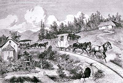 Horse-drawn railway, ride from Linz to České Budějovice, personal transport I. and II. class, historical graphicwork