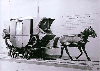 Horse-drawn railway, model of covered carriage Hanibal, designed for personal transport