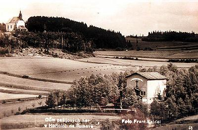 Hořice na Šumavě, house of Passion Plays, historical photo by František Seidel