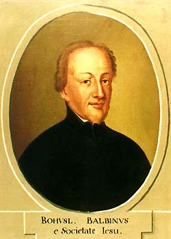 Zlatá Koruna school, classroom aid from 18th century, portrait of Bohuslav Balbín