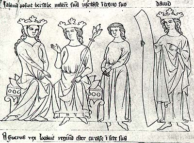 Liber depictus, Český Krumlov early 14th century, Solomon, King David, and Bethsabe