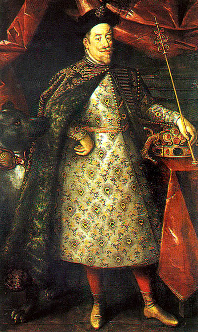Matthias von Habsburg in corunation cloak, with the jewels of the Czech kings