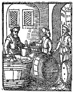 Traders with wine, period illustration from 1546