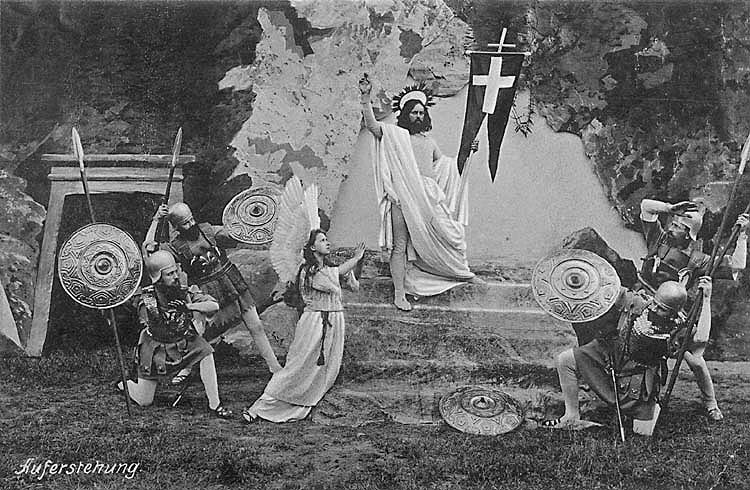 Hořice na Šumavě, Passion Plays in 1912, scene of Resurrection, photo Josef Seidel , foto: J. Seidel