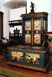 Folkpainted furniture, collection of Regional Museum of National History in Český Krumlov