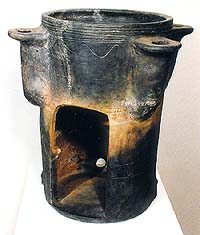 Touchstone oven for burning silver from 16th century, archeological find from Radniční no. 27, collection of Regional Museum of National History in Český Krumlov