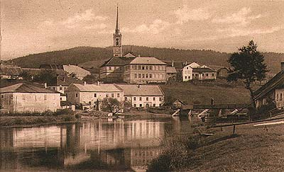 Frymburk, view from the Vltava River, historical photo