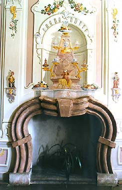 Mansion Červený Dvůr, Rococo hall with paintings by František Jakub Prokyš, 1757, mural detail above fireplace