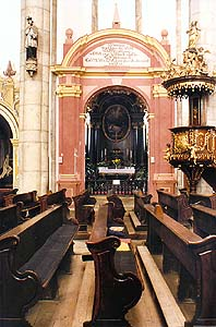 Church of St. Vitus in Český Krumlov, view of entrance into chapel of Jan Nepomuk