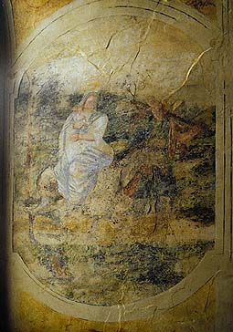 Castle Rožmberk nad Vltavou, Rožmberk Castle chapel, wall painting from 16th century, virgin Mary with Jesus and Josef, foto: Lubor Mrázek