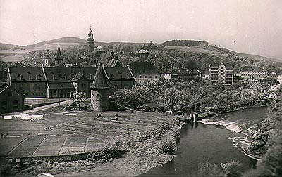 View onto the brewery and brewery gardens in Český Krumlov from Havranní cliffs, historical photo