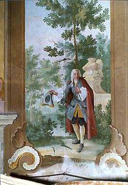 Summer Manor Bellarie in Český Krumlov Castle Gardens, painted decorations - František Jakub Prokyš, second half of 18th century, detail of wall decoration on lower floor, cavalier in gardens