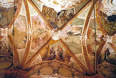 Monastery Zlatá Koruna, detail of painted vault decorations of the cross corridor