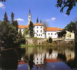 Vyšší Brod, Cisterian monastery with reflection of water-level