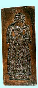 The oldest preserved gingerbread form (reversible) from 1645, on  reverse side figure of the lady, collection of Regional Museum of National History in Český Krumlov