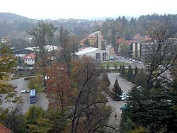 View at middle part of Jelení garden, used as parking, from Cloak bridge, 1999, photo: J. Olšan
