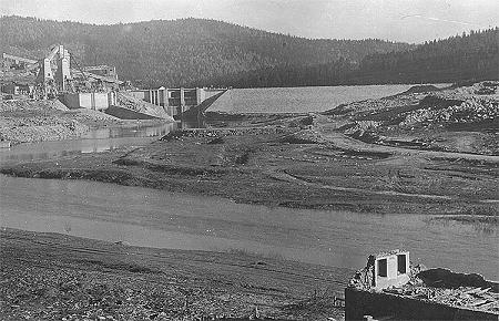 Hydro plant Lipno, dam before filling, historical photo