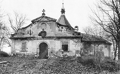 Chapel on the Mountain of the Cross in Český Krumlov, overview, condition before reconstruction