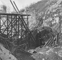 Hydro plant Lipno, sloping tunnel, future portal and pipeline for concrete works, March 1956, historical photo