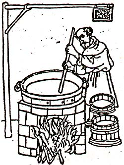 Brewer brewing beer, historical drawing