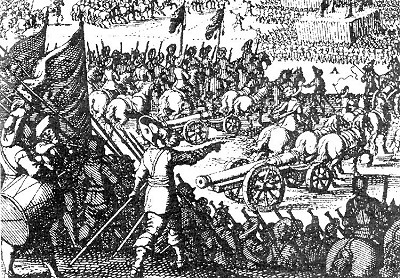 Artillery from the beginning of the 17th century , period engraving, source: Toulky českou minulostí III, Petr Hora, 1994, ISBN - 80 - 85621 - 97 - 5