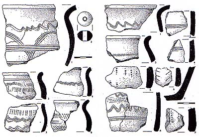 The pottery fragments from the site of a fortified settlement near Kuklov (the 8th - 9th century) by M. Lutovský.