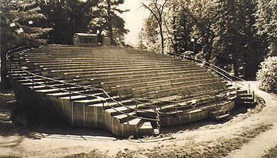 Revolving auditorium at the Český Krumlov Castle Gardens, historical photo of wooden auditorium